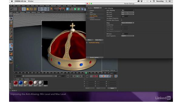 Improving the anti-aliasing: After Effects Apprentice 19: Motion Tracking with CINEMA 4D Lite