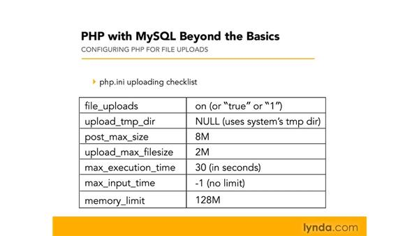 Configuring PHP for file uploads: PHP with MySQL Beyond the Basics