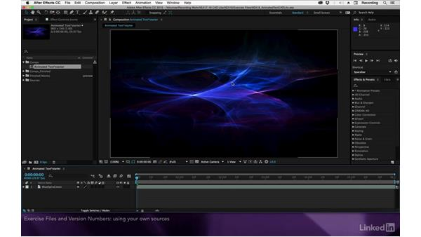 Exercise files and software versions: After Effects Apprentice 18: 3D Text CINEMA 4D Lite