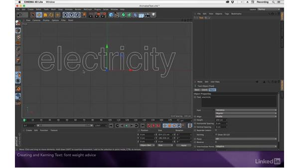 Creating and kerning text in C4D Lite: After Effects Apprentice 18: 3D Text CINEMA 4D Lite
