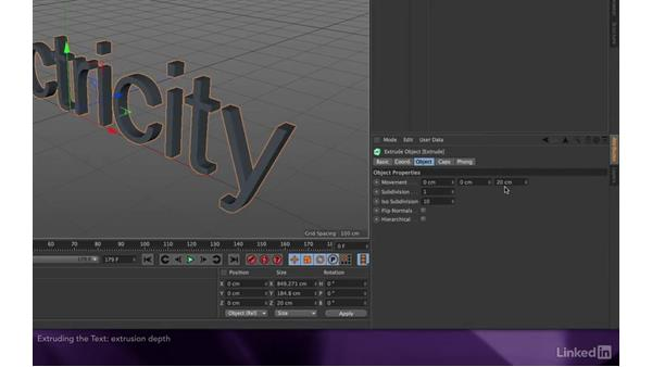 Extruding the text: After Effects Apprentice 18: 3D Text CINEMA 4D Lite