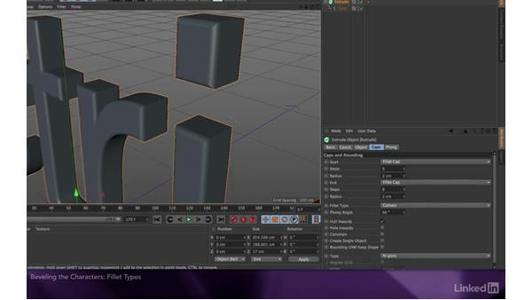 Beveling the characters: After Effects Apprentice 18: 3D Text CINEMA 4D Lite