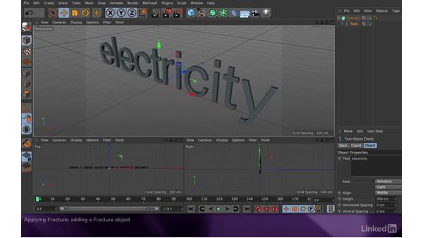 Applying fracture to separate the characters: After Effects Apprentice 18: 3D Text CINEMA 4D Lite