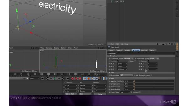 Using the plain effector to offset the text: After Effects Apprentice 18: 3D Text CINEMA 4D Lite