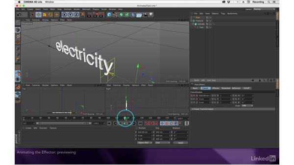 Animating the effector: After Effects Apprentice 18: 3D Text CINEMA 4D Lite