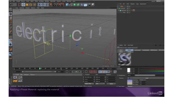 Applying a texture preset: After Effects Apprentice 18: 3D Text CINEMA 4D Lite