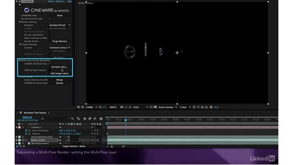 Separating a multpass render: After Effects Apprentice 18: 3D Text CINEMA 4D Lite