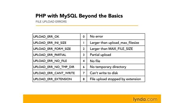Uploading errors: PHP with MySQL Beyond the Basics