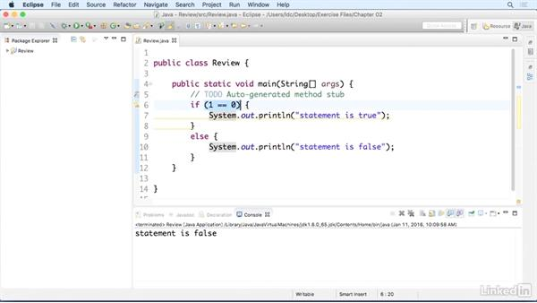 Conditional statements: Up and Running with Java Applications