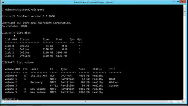 Command-line disk formatting: Windows Server 2012 R2: Configure File and Storage Solutions