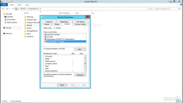 Viewing effective file access permissions: Windows Server 2012 R2: Configure File and Storage Solutions