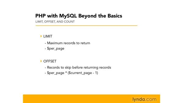 Using LIMIT, OFFSET, and COUNT: PHP with MySQL Beyond the Basics