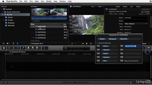 Using tags and keywords to further organize media in Final Cut Pro X: Video Editing: Moving from Production to Post