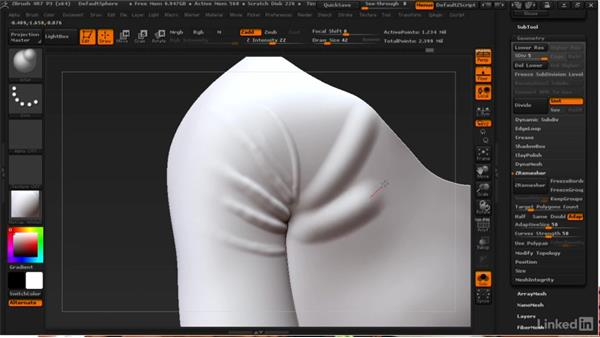Sculpting folds and wrinkles: ZBrush: Learn to Sculpt Cloth
