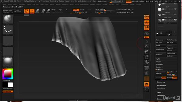 Creating the outer skirt from the inner: ZBrush: Learn to Sculpt Cloth