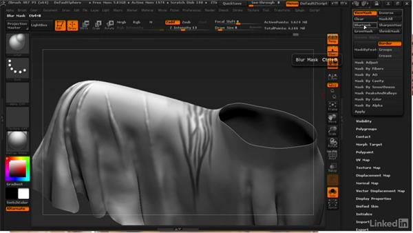 Adding crumpled folds: ZBrush: Learn to Sculpt Cloth