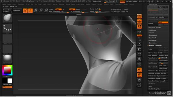 Adjusting the cloth shapes: ZBrush: Learn to Sculpt Cloth