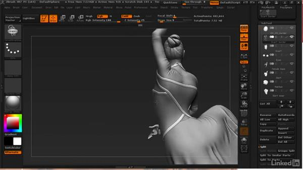 Adding a border to the scarf: ZBrush: Learn to Sculpt Cloth