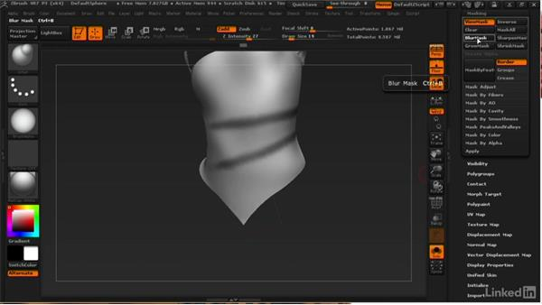 Sculpting the scarf folds: ZBrush: Learn to Sculpt Cloth