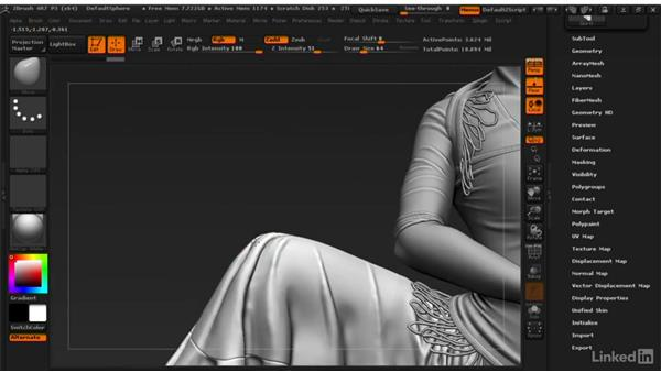 Correcting object overlap: ZBrush: Learn to Sculpt Cloth