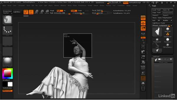Making overall adjustments with Transpose Master: ZBrush: Learn to Sculpt Cloth
