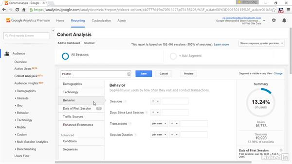 Cohort analysis via advanced segments: Advanced Google Analytics
