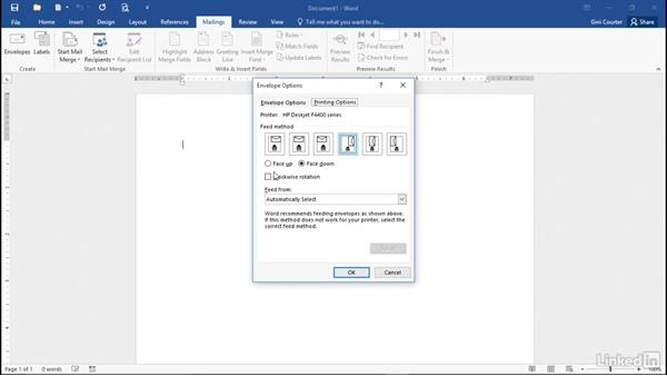 Creating envelopes: Mail Merge in Depth with Word 2016
