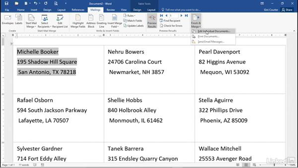 Creating labels: Mail Merge in Depth with Word 2016