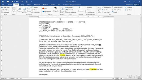 Prompting for repeating input with ASK: Mail Merge in Depth with Word 2016