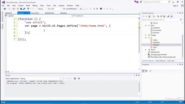 Creating a page object: Declaring in WinJS: Developing Universal Windows Apps