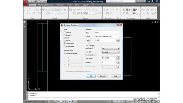 Creating an attribute to hold data: AutoCAD 2009: Mastering References
