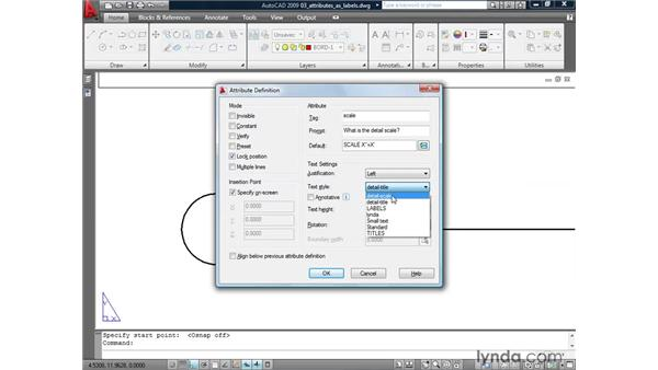 Using attributes for labels: AutoCAD 2009: Mastering References