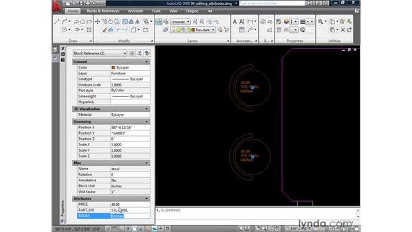 Editing attributes: AutoCAD 2009: Mastering References