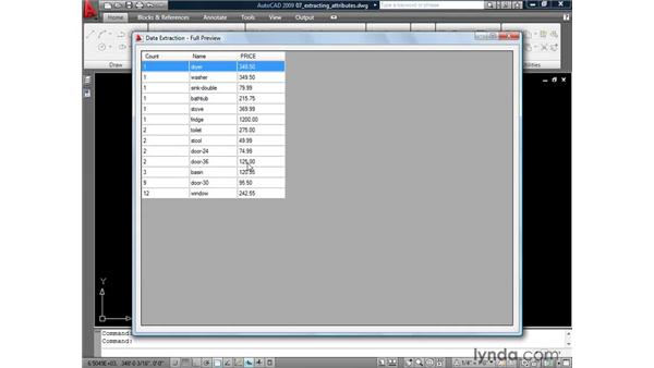Extracting attribute data: AutoCAD 2009: Mastering References