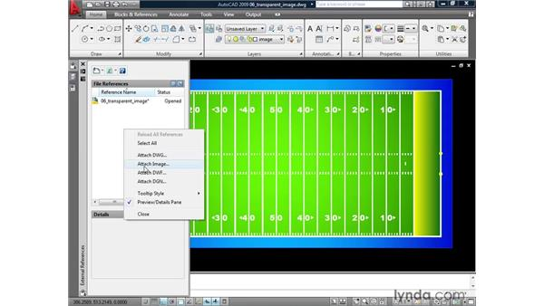 Applying transparency to images: AutoCAD 2009: Mastering References