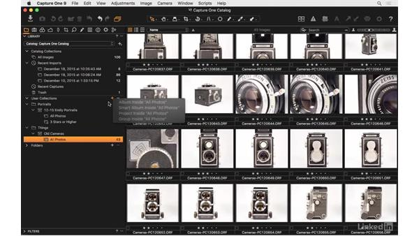 Add albums and smart albums: Capture One Pro 9 Essential Training