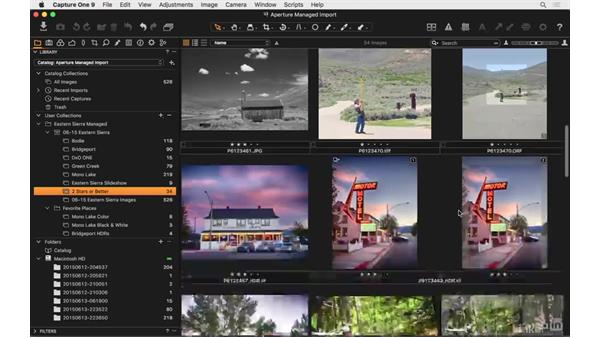 Review an Aperture managed library import: Capture One Pro 9 Essential Training