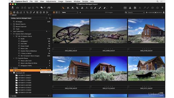 Move master files from an Aperture library to a Capture One catalog: Capture One Pro 9 Essential Training