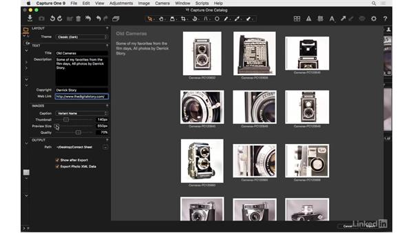 Make a web contact sheet: Capture One Pro 9 Essential Training