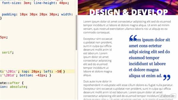 Welcome: Design the Web: Creating a Pull Quote with CSS