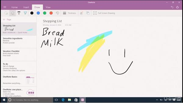 Using the Pen with the OneNote mobile app: Learn Microsoft Surface Book and Other 2-in-1 Laptops