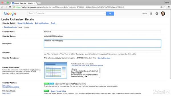 Set calendar details: Google Calendar Essential Training
