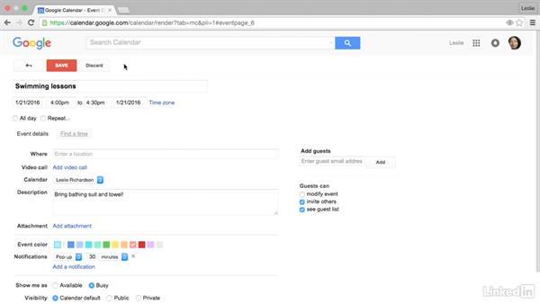 Create a calendar event: Google Calendar Essential Training