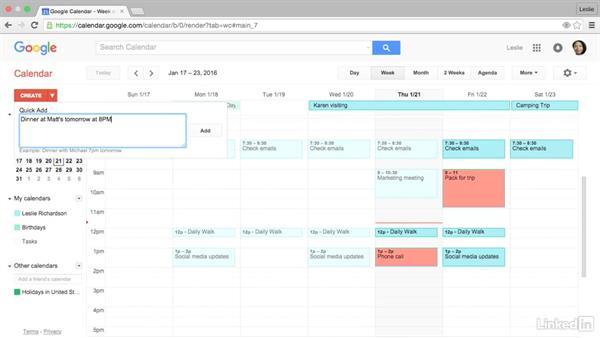Create an event quickly using Quick Add: Google Calendar Essential Training