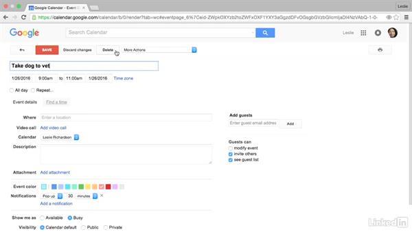 Edit and delete a calendar event: Google Calendar Essential Training