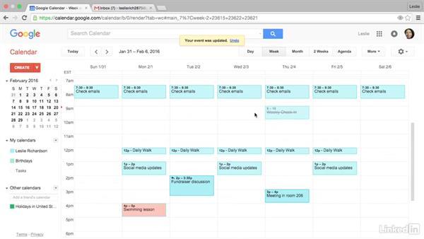 Respond to an event invitation: Google Calendar Essential Training