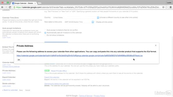 Share your calendar with a non-Google user: Google Calendar Essential Training