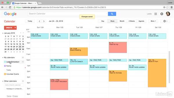 Make the calendar public and events private, busy, or free: Google Calendar Essential Training