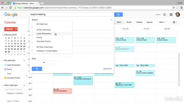 Search the calendar: Google Calendar Essential Training