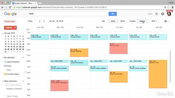 Print the calendar: Google Calendar Essential Training